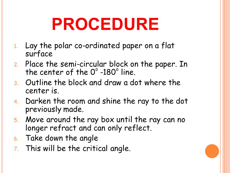 procedure Lay the polar co-ordinated paper on a flat surface