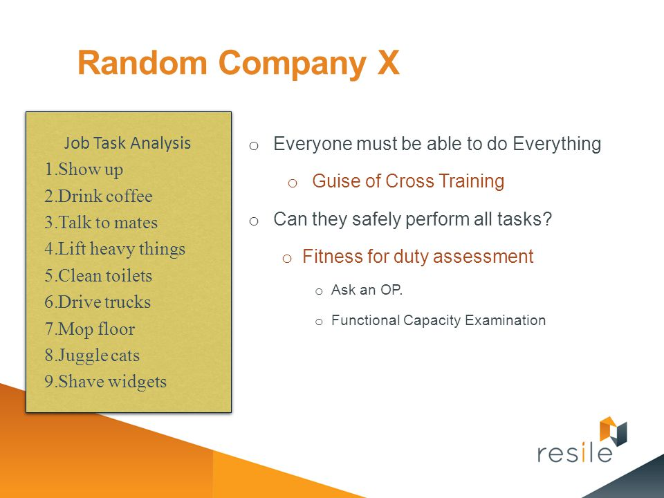 Random Company X Job Task Analysis
