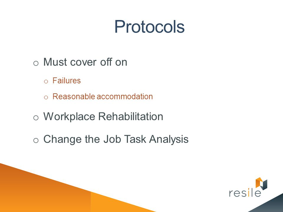 Protocols Must cover off on Workplace Rehabilitation