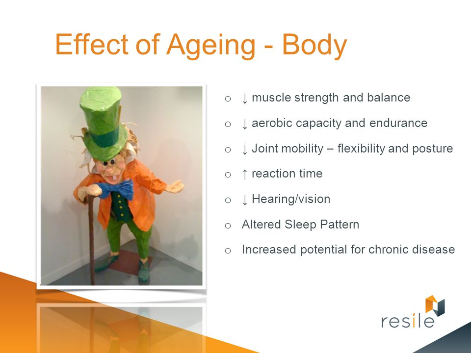 Effect of Ageing - Body ↓ muscle strength and balance