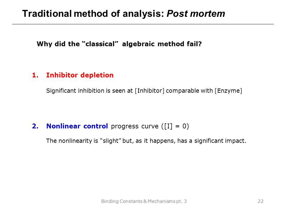 Traditional method of analysis: Post mortem
