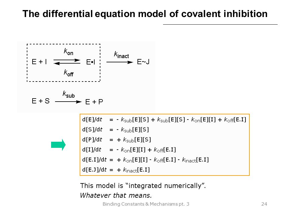 The differential equation model of covalent inhibition