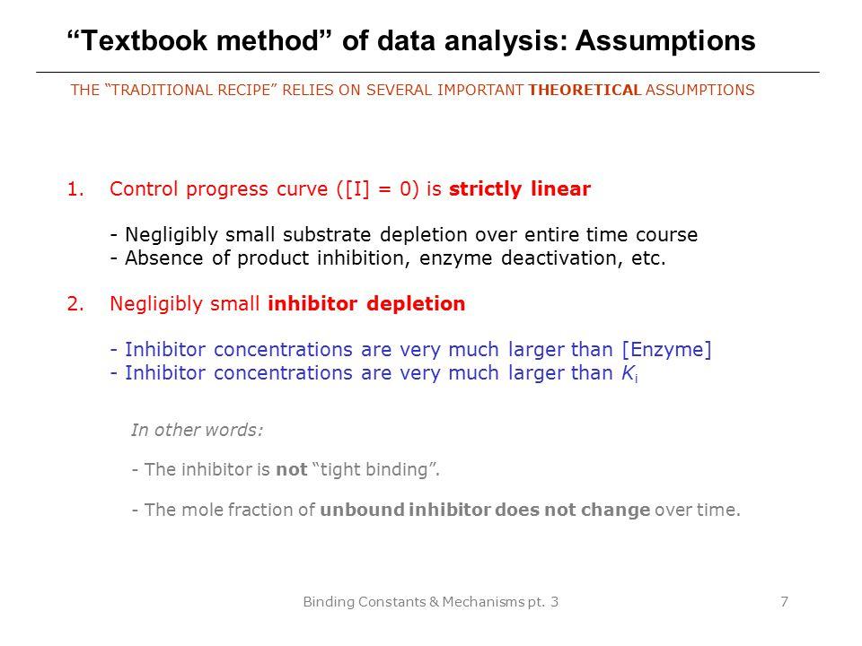 Textbook method of data analysis: Assumptions