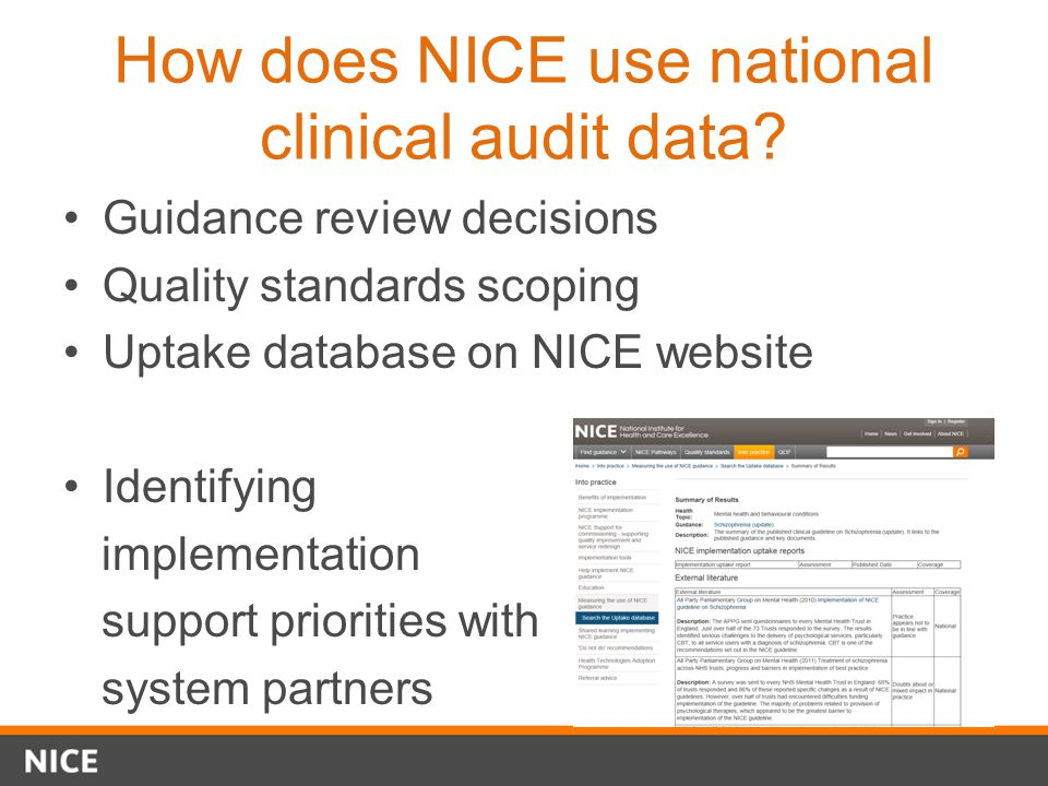 How does NICE use national clinical audit data