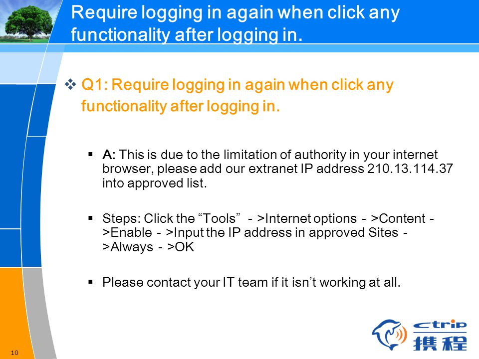 Require logging in again when click any functionality after logging in.