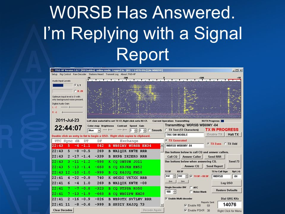 W0RSB Has Answered. I'm Replying with a Signal Report