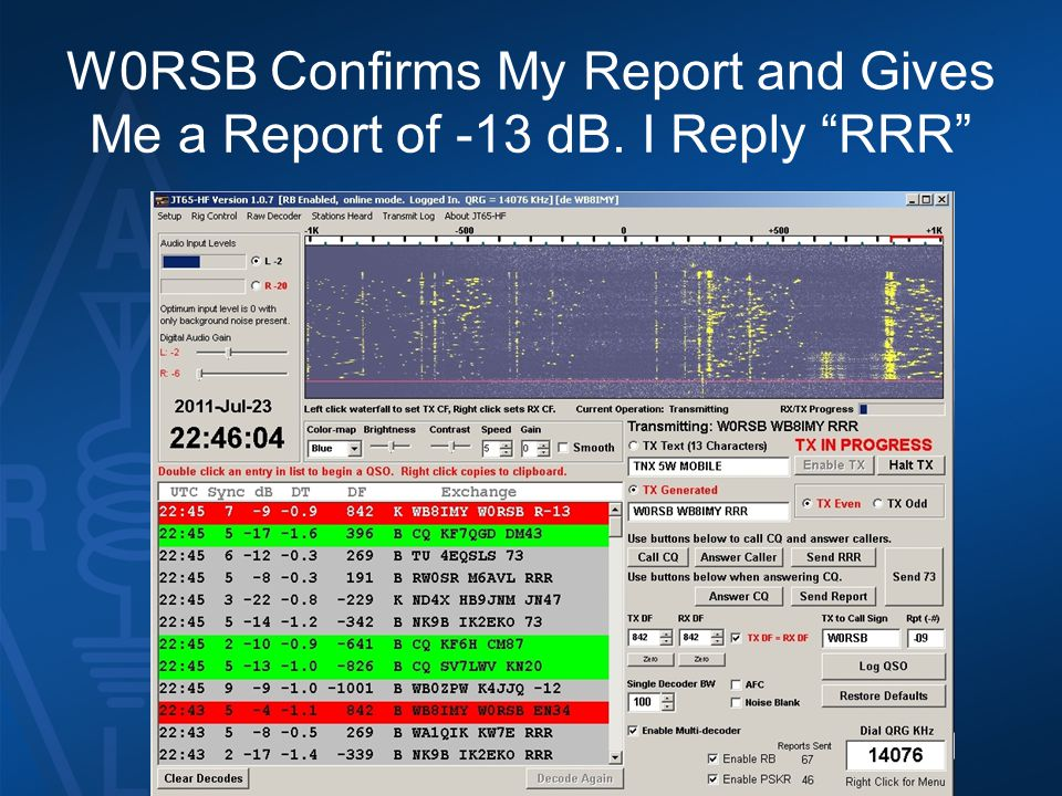 W0RSB Confirms My Report and Gives Me a Report of -13 dB. I Reply RRR