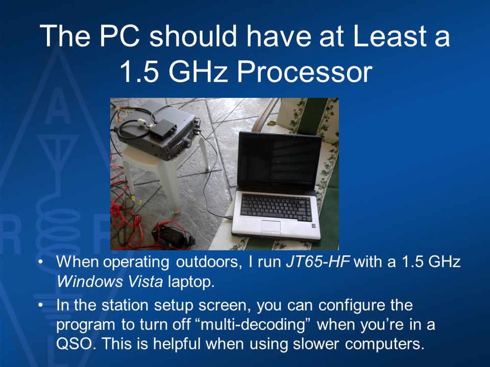 The PC should have at Least a 1.5 GHz Processor
