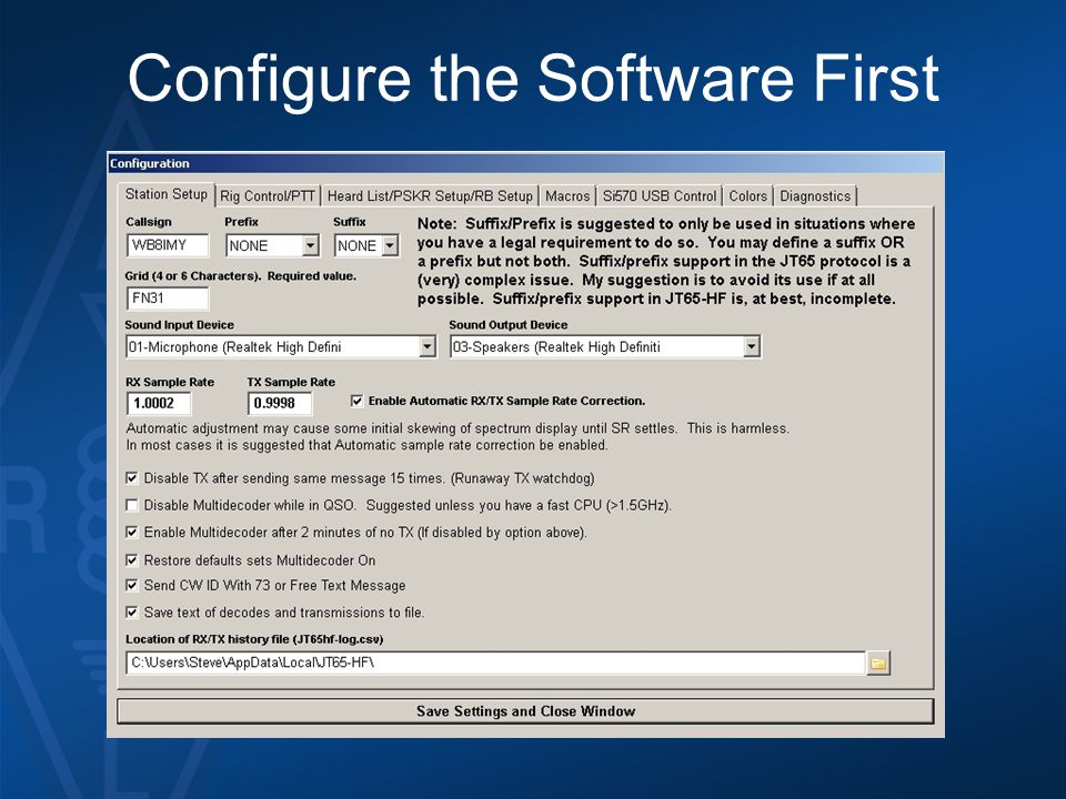 Configure the Software First