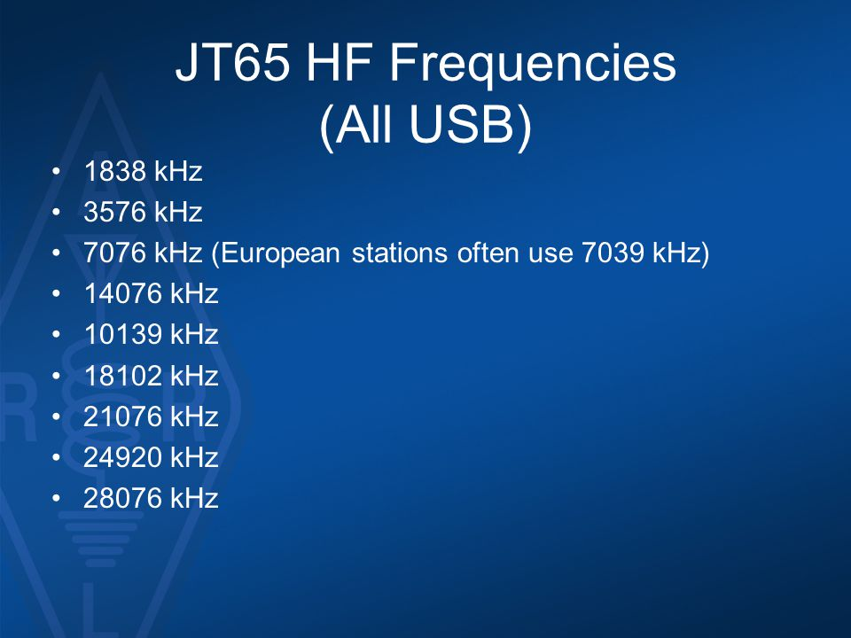 JT65 HF Frequencies (All USB)