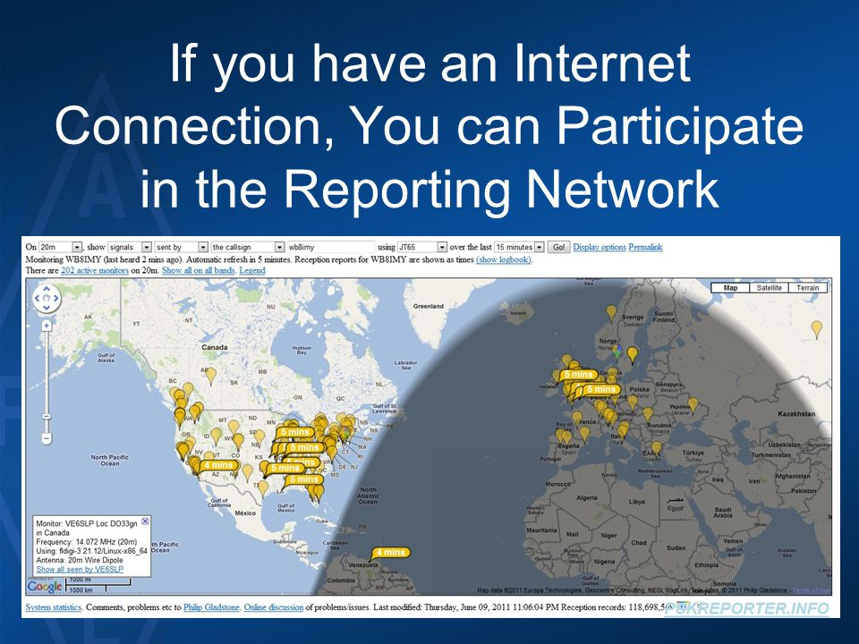If you have an Internet Connection, You can Participate in the Reporting Network