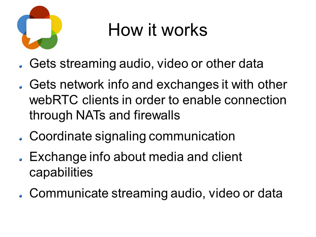 How it works Gets streaming audio, video or other data