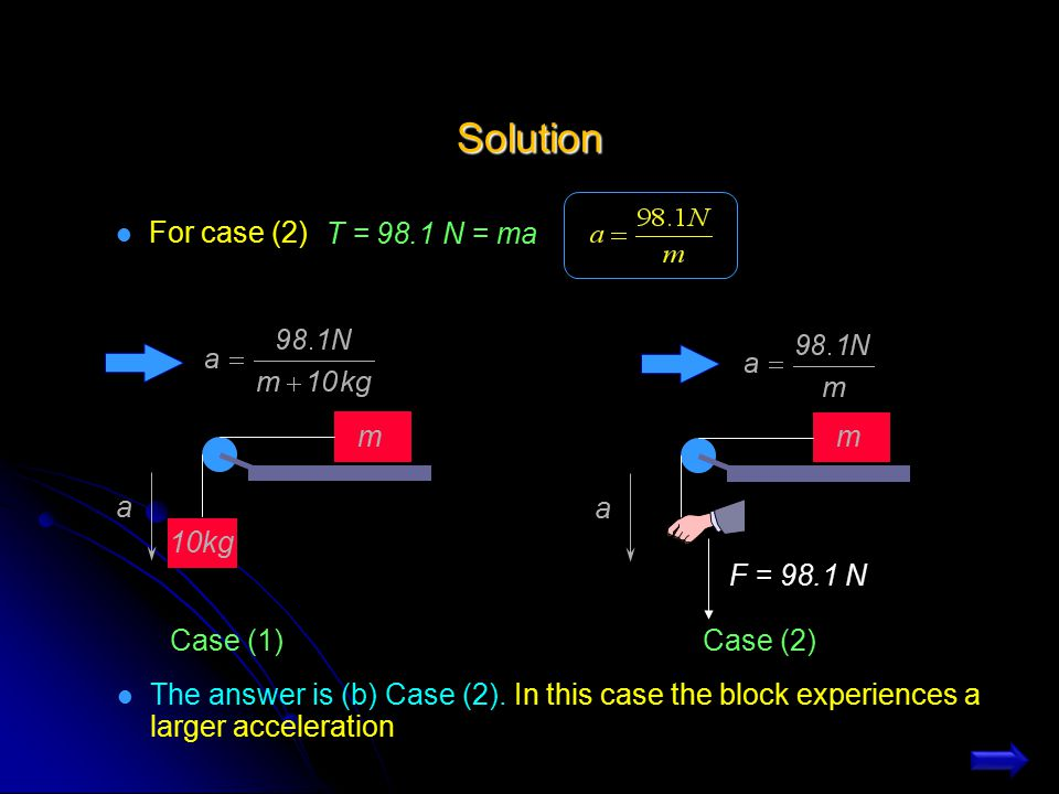 Solution T = 98.1 N = ma For case (2) m 10kg a Case (1) m a F = 98.1 N