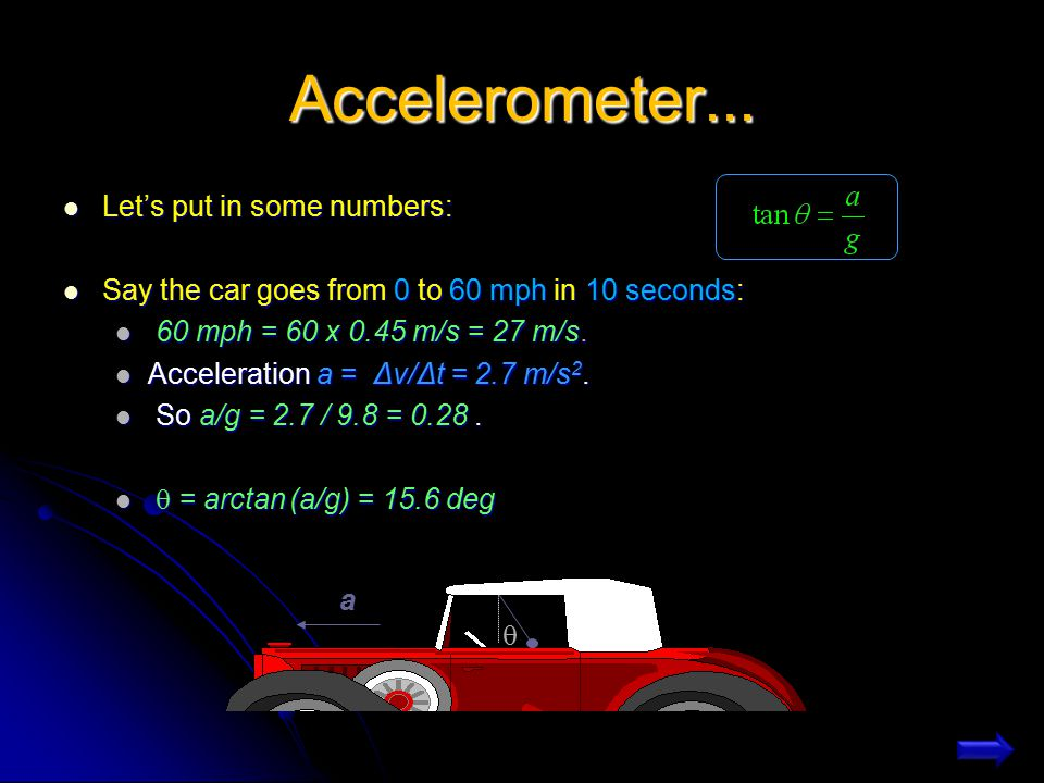 Accelerometer... Let's put in some numbers: