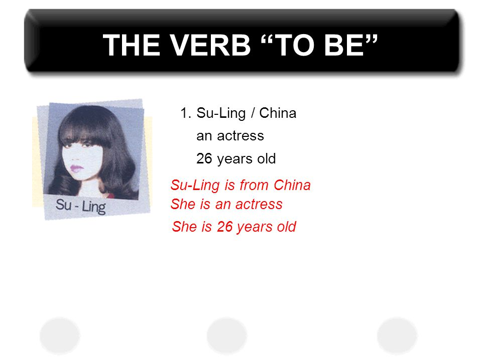 THE VERB TO BE 1. Su-Ling / China an actress 26 years old