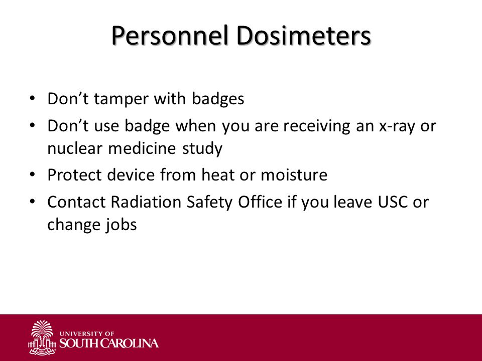 Personnel Dosimeters Don't tamper with badges