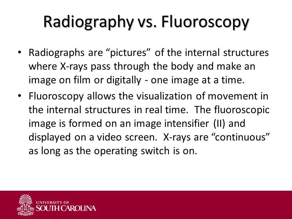 Radiography vs. Fluoroscopy