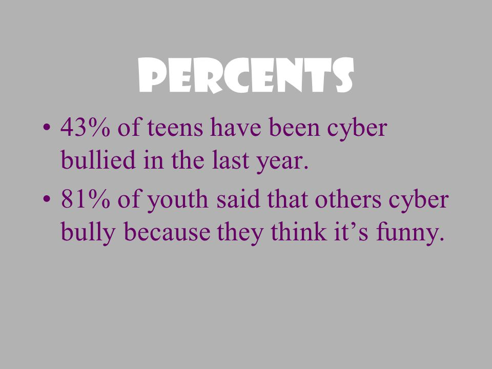 Percents 43% of teens have been cyber bullied in the last year.