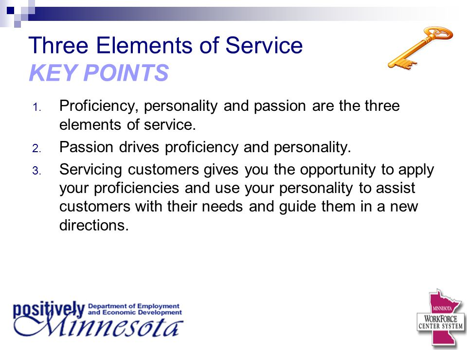 Three Elements of Service KEY POINTS
