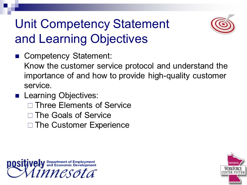 Unit Competency Statement and Learning Objectives