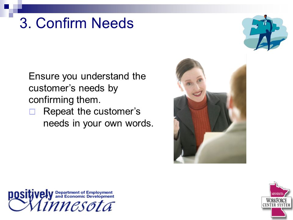 3. Confirm Needs Ensure you understand the customer's needs by