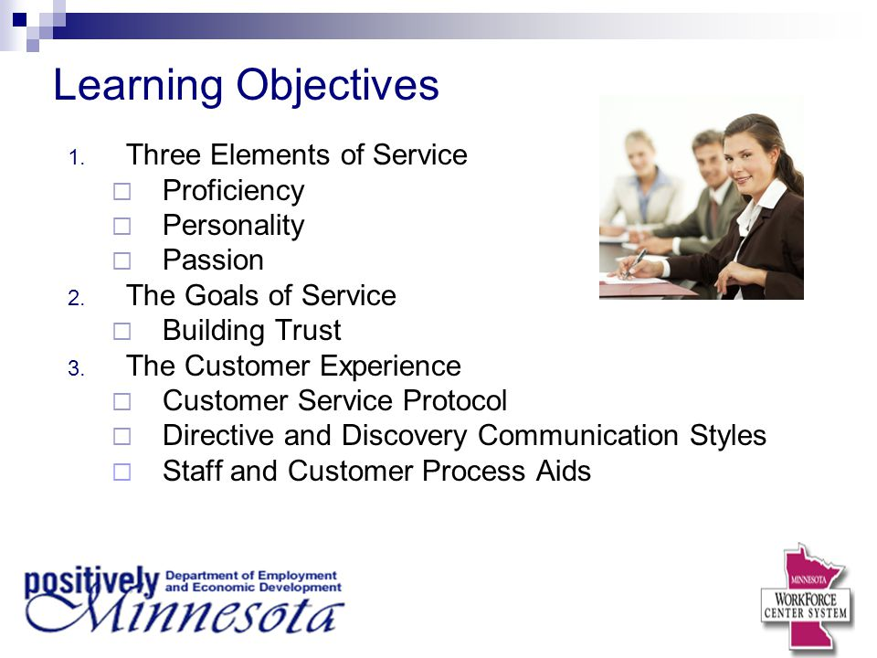 Learning Objectives Three Elements of Service Proficiency Personality