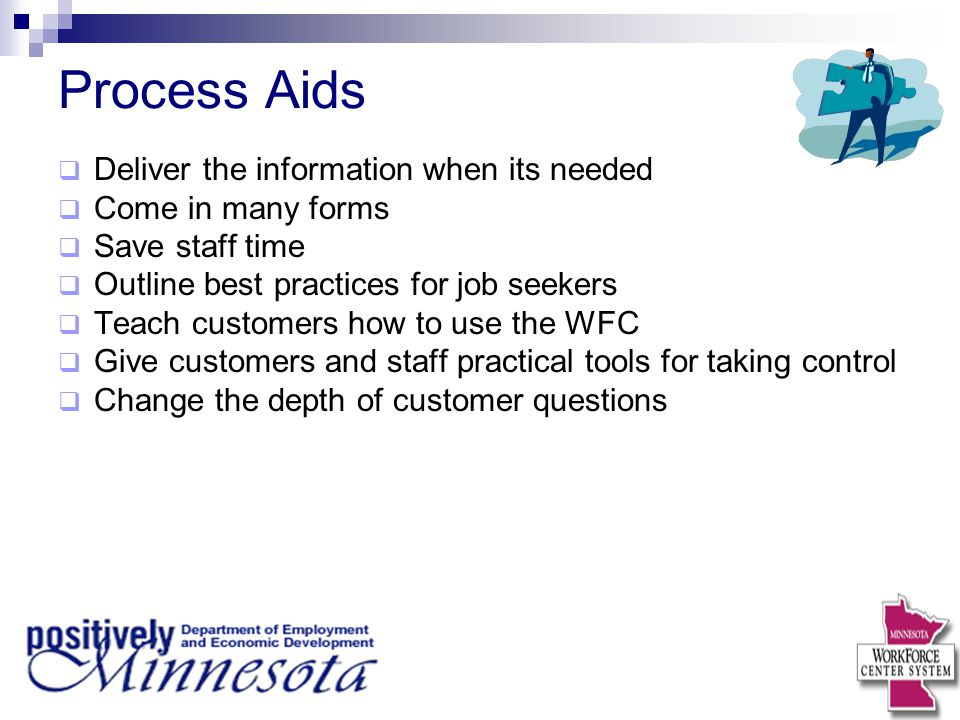 Process Aids Deliver the information when its needed
