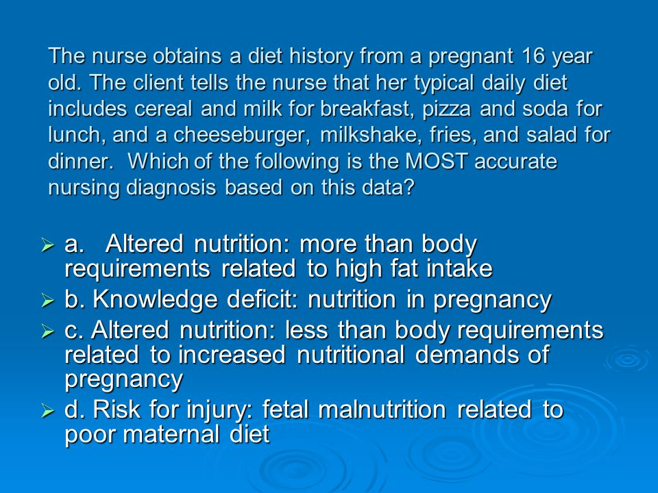 b. Knowledge deficit: nutrition in pregnancy