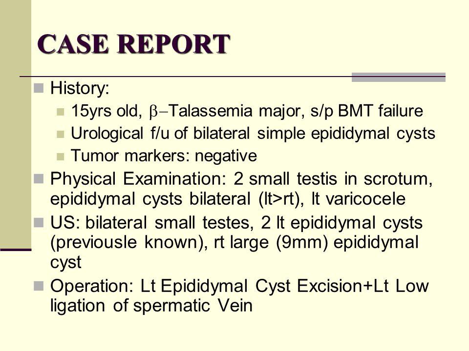 CASE REPORT History: 15yrs old, b-Talassemia major, s/p BMT failure. Urological f/u of bilateral simple epididymal cysts.