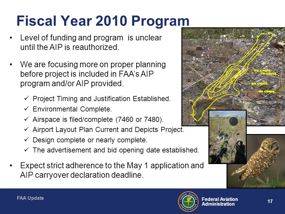 Fiscal Year 2010 Program Level of funding and program is unclear until the AIP is reauthorized.
