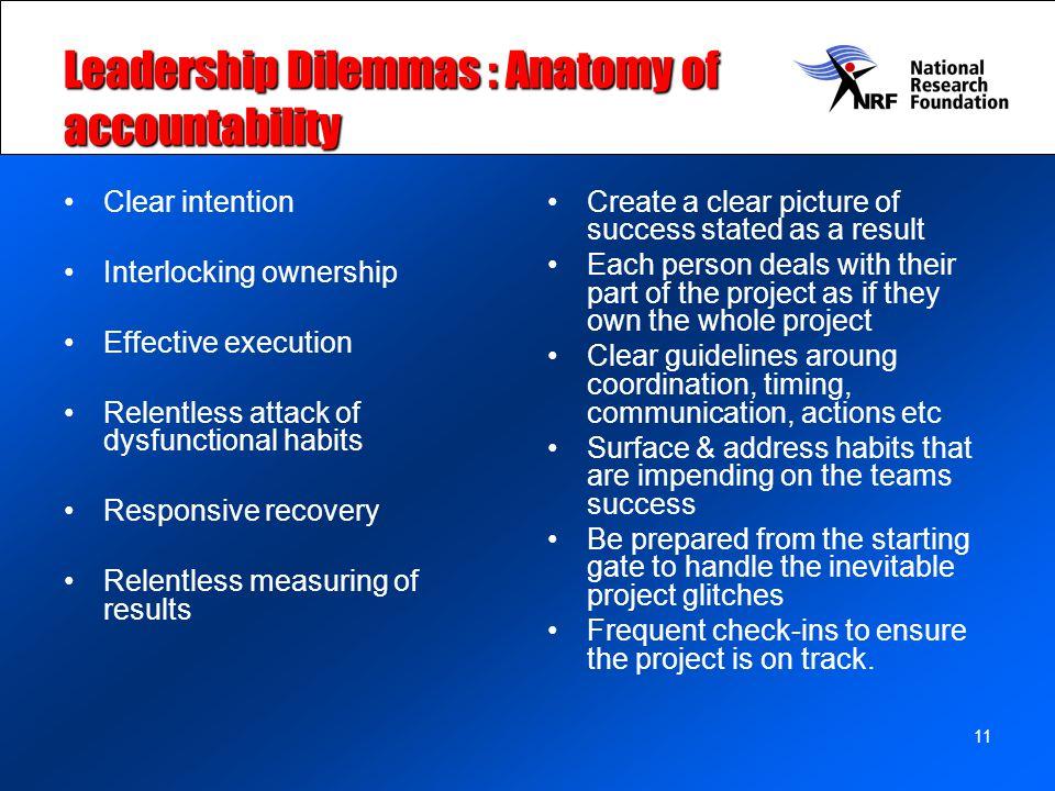 Leadership Dilemmas : Anatomy of accountability