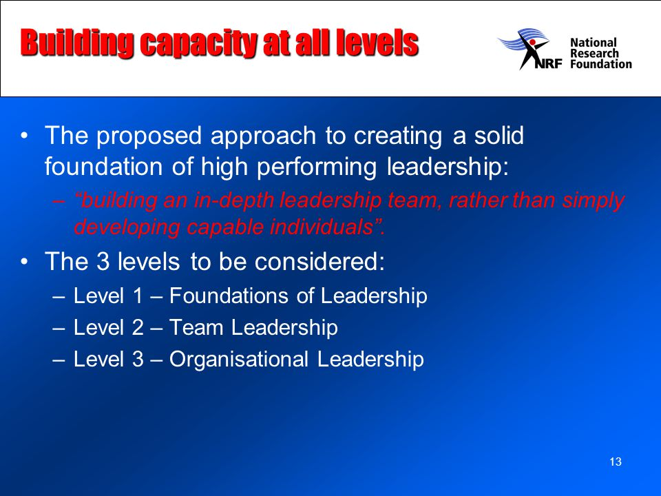Building capacity at all levels