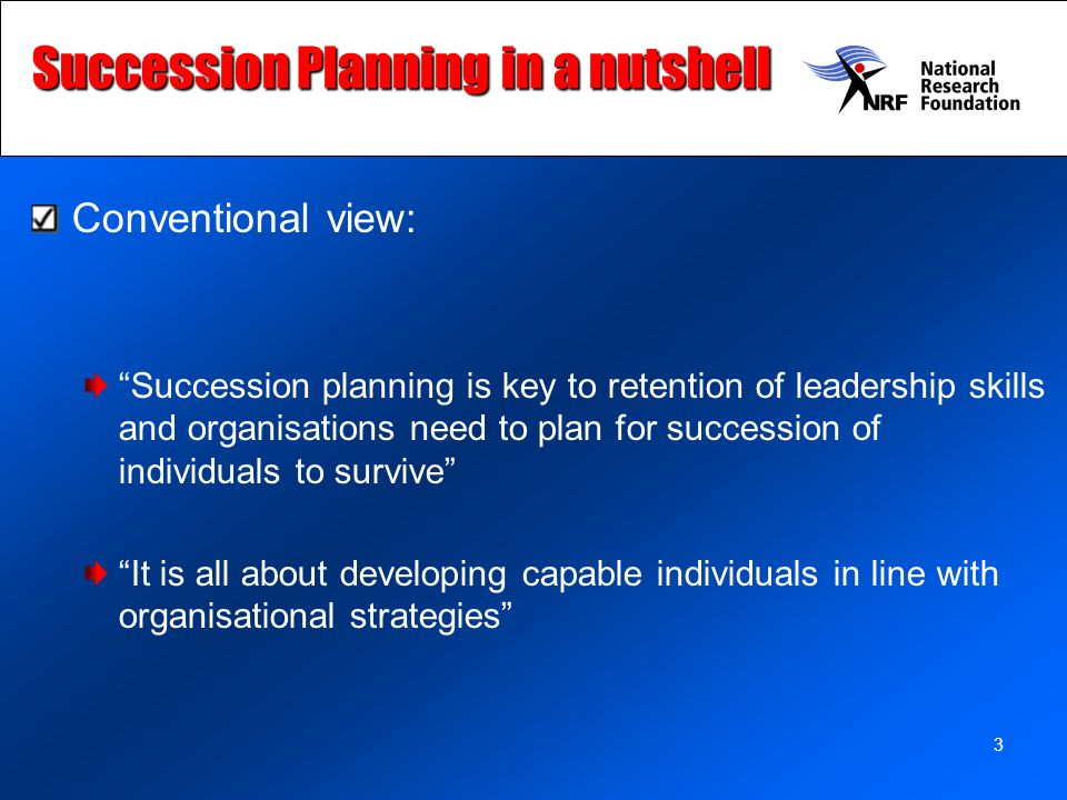 Succession Planning in a nutshell