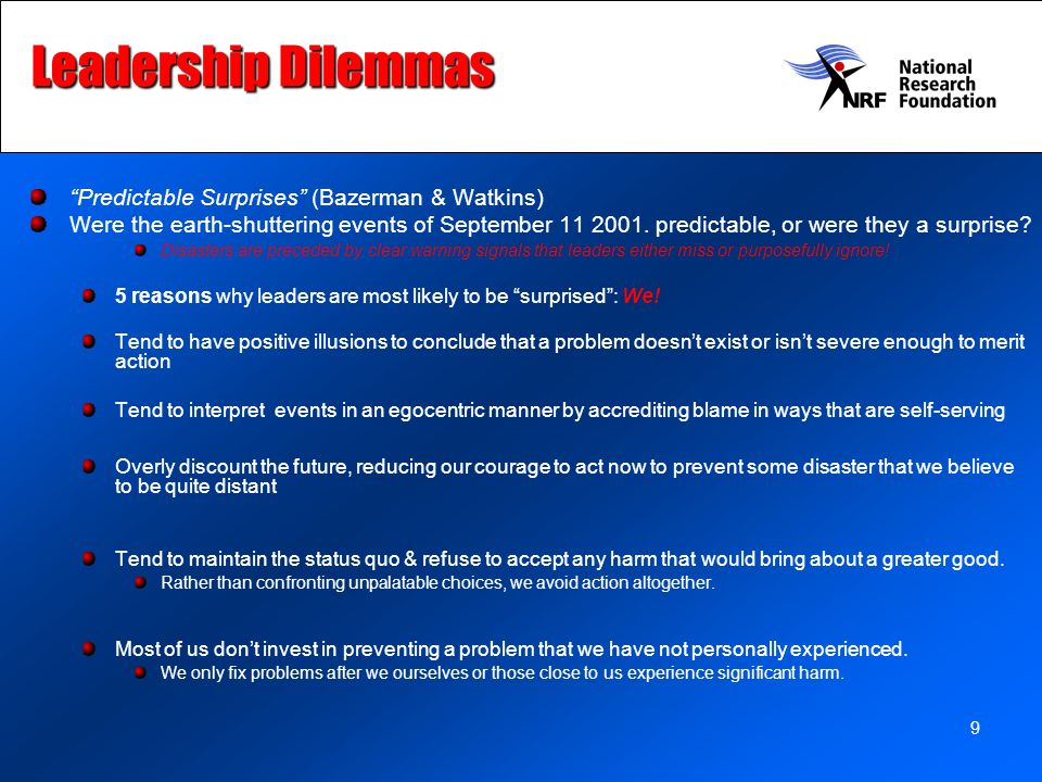 Leadership Dilemmas Predictable Surprises (Bazerman & Watkins)