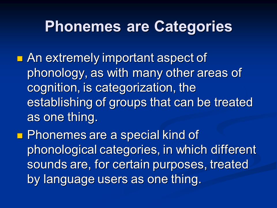Phonemes are Categories