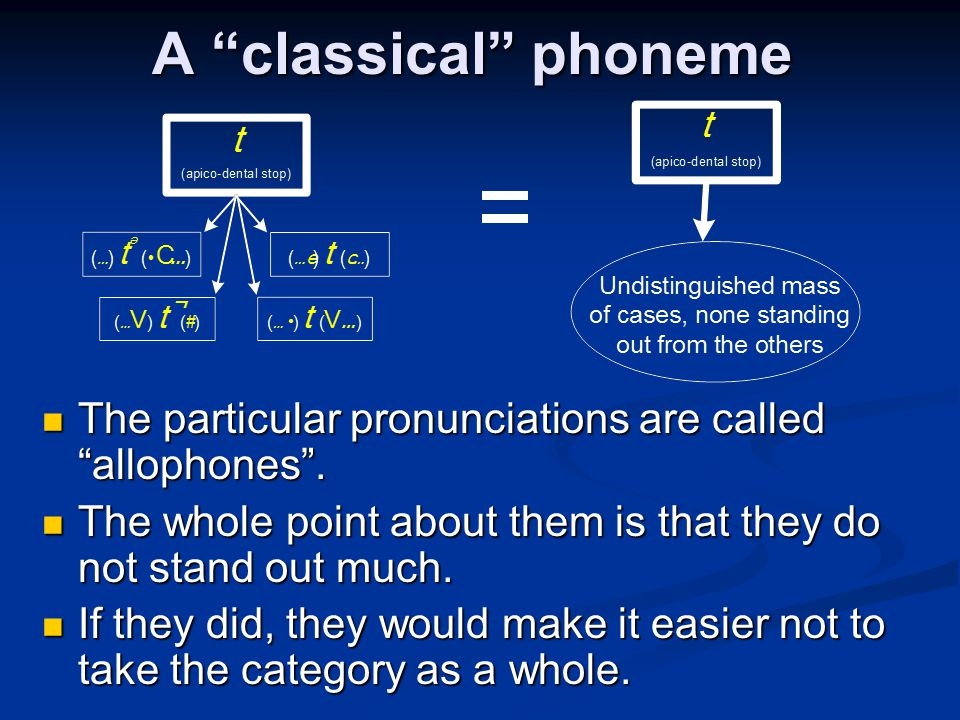 A classical phoneme The particular pronunciations are called allophones . The whole point about them is that they do not stand out much.