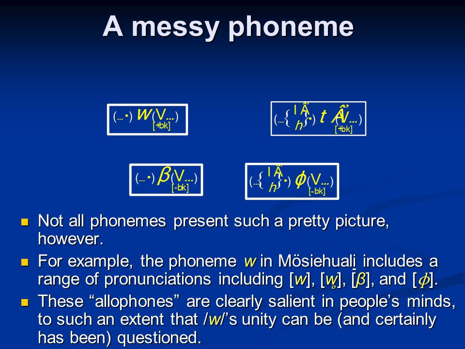 A messy phoneme Not all phonemes present such a pretty picture, however.