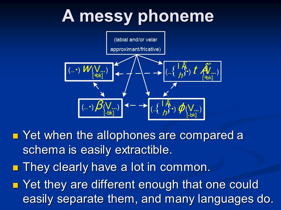 A messy phoneme Yet when the allophones are compared a schema is easily extractible. They clearly have a lot in common.