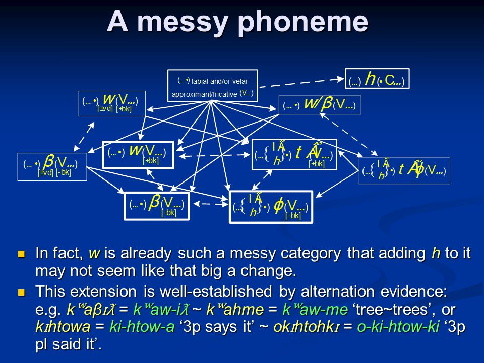 A messy phoneme In fact, w is already such a messy category that adding h to it may not seem like that big a change.