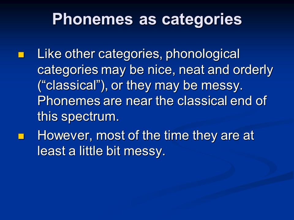 Phonemes as categories