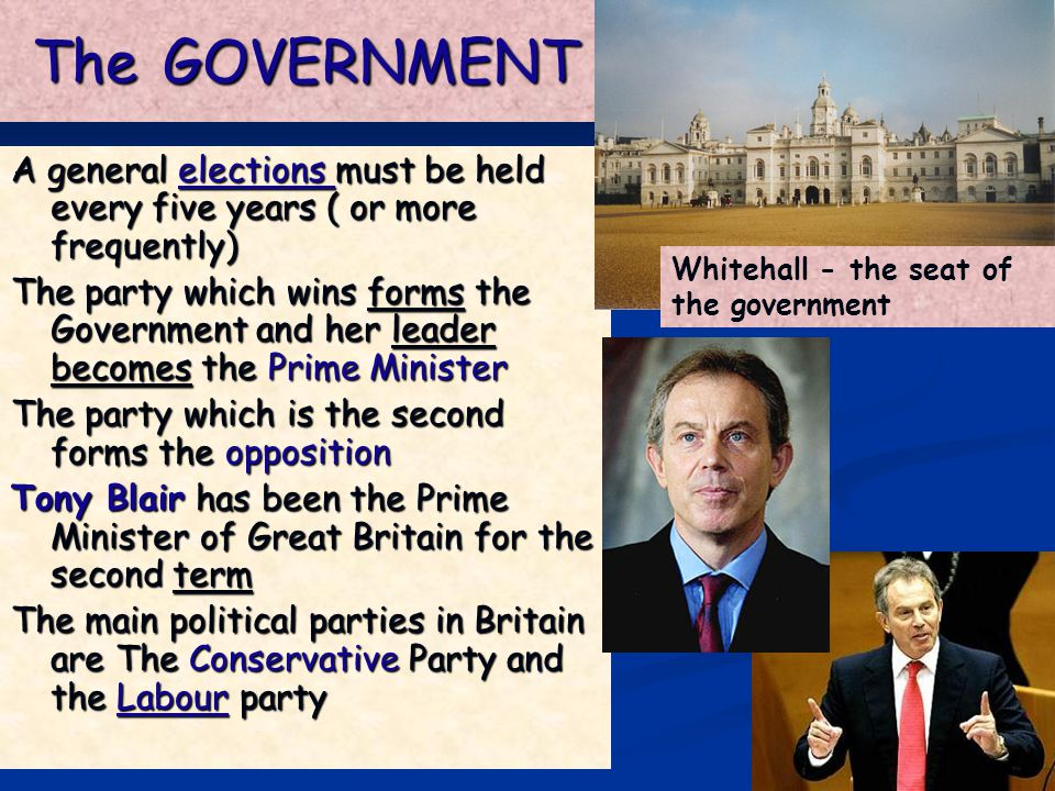 The GOVERNMENT A general elections must be held every five years ( or more frequently)