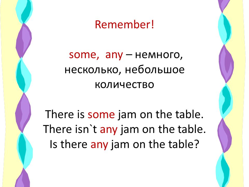 Remember. some, any – немного, несколько, небольшое количество There is some jam on the table.