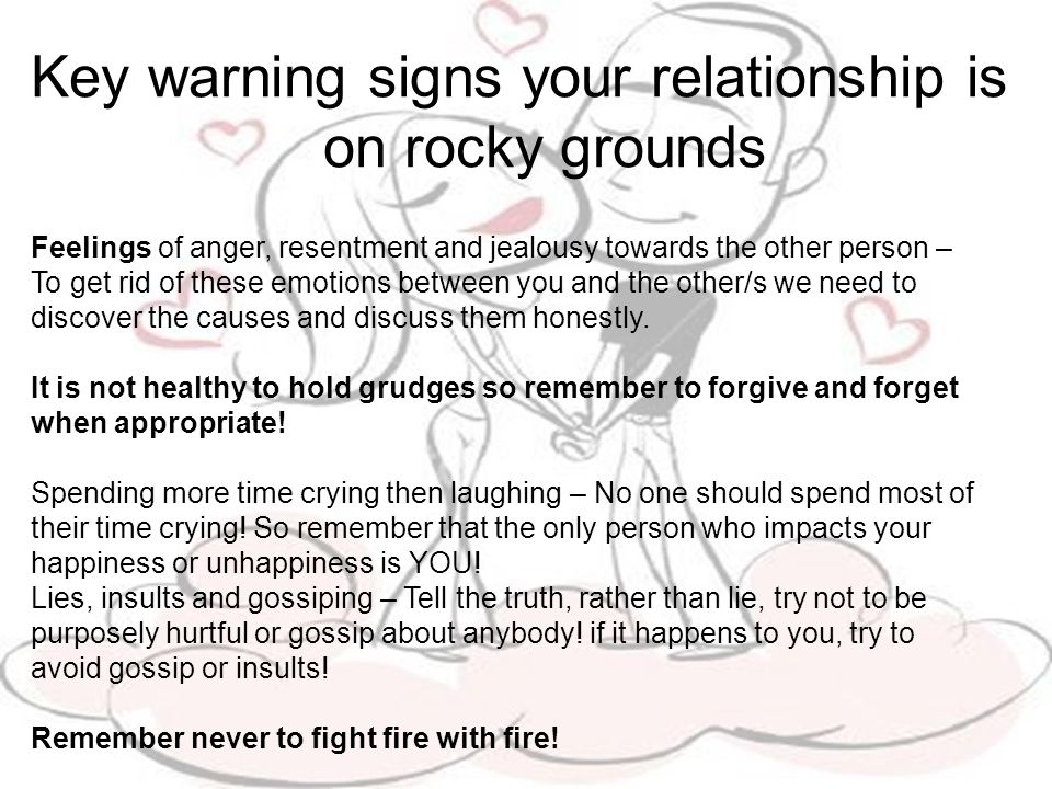Key warning signs your relationship is on rocky grounds