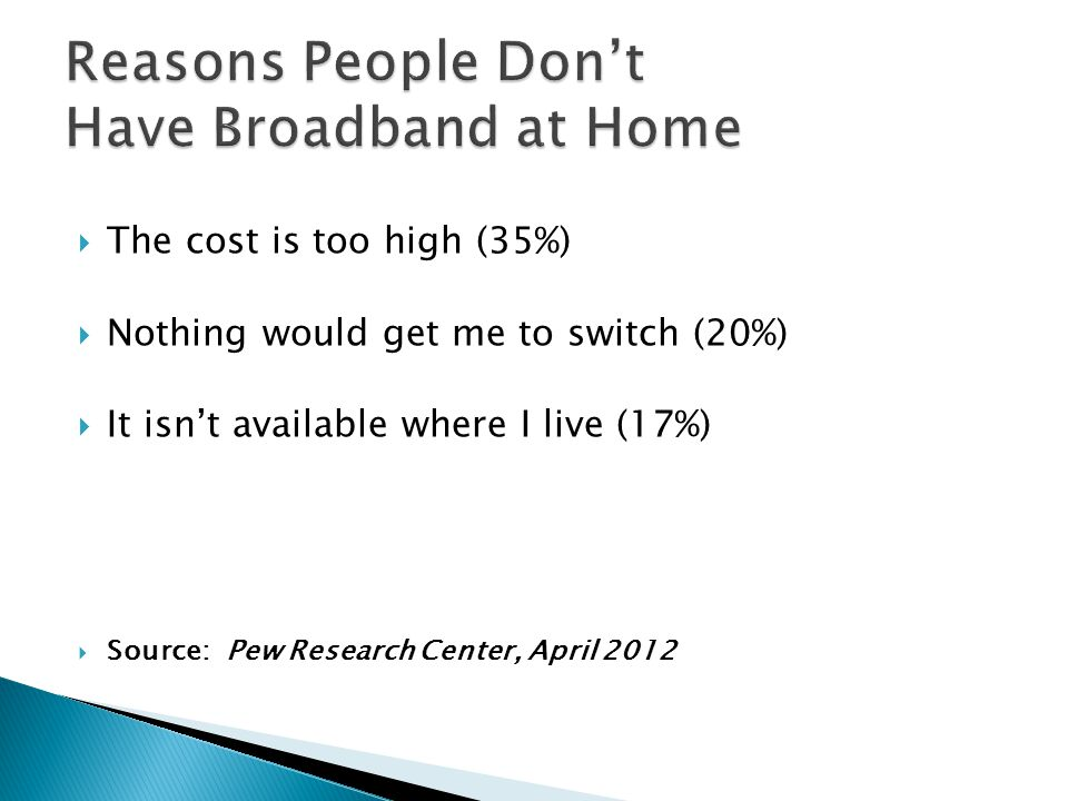 Reasons People Don't Have Broadband at Home