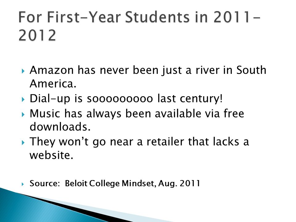 For First-Year Students in 2011-2012