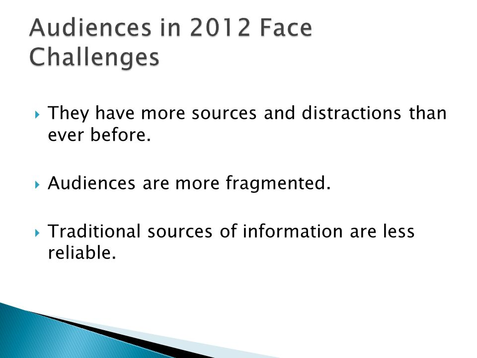 Audiences in 2012 Face Challenges