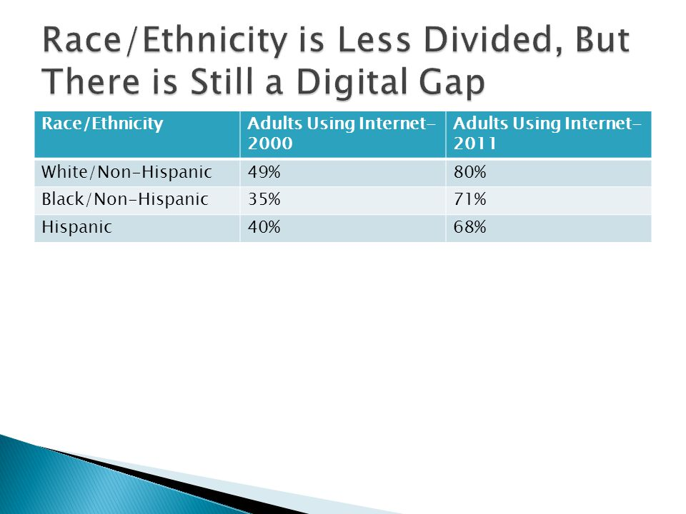 Race/Ethnicity is Less Divided, But There is Still a Digital Gap