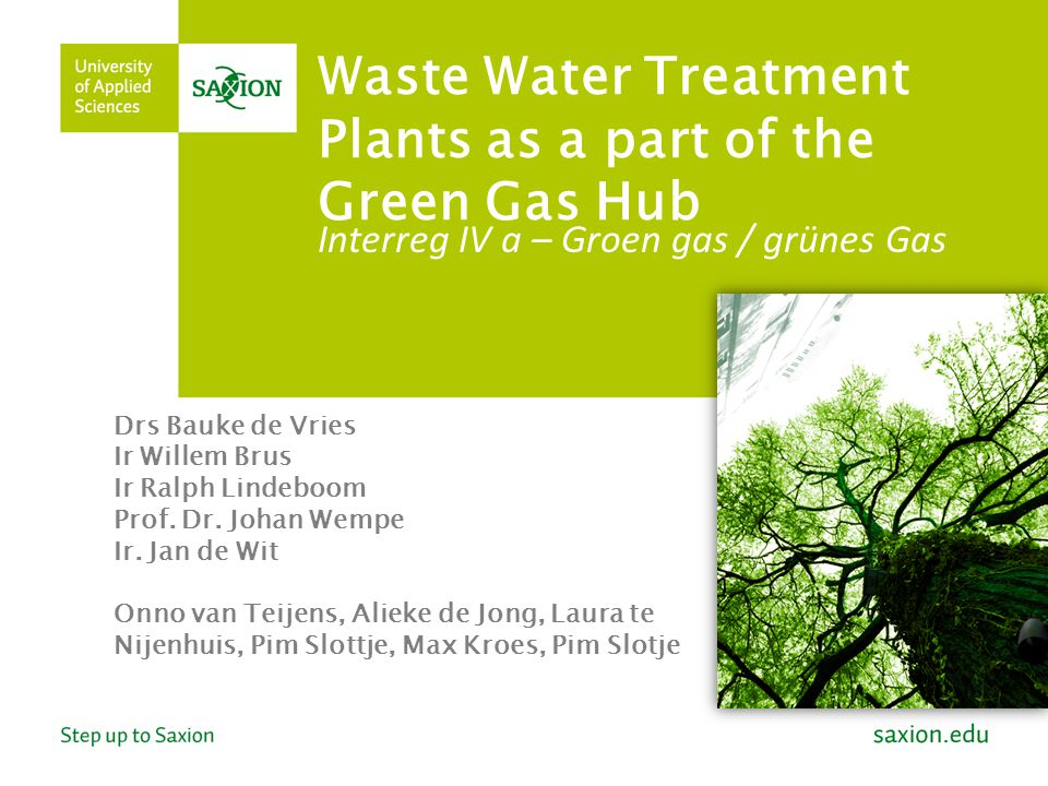 Waste Water Treatment Plants as a part of the Green Gas Hub