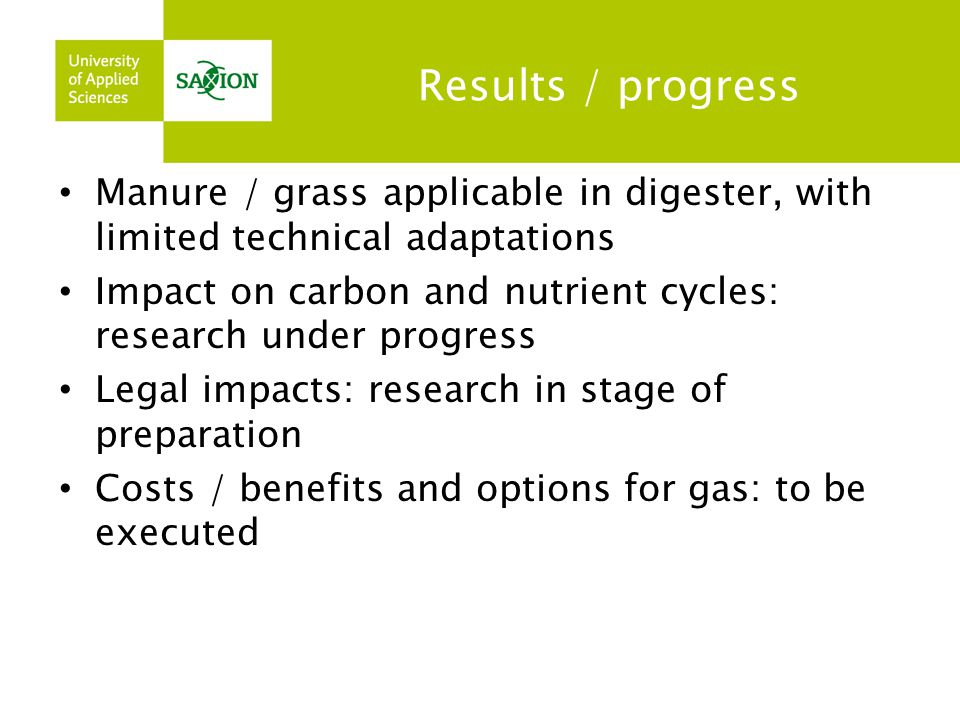 Results / progress Manure / grass applicable in digester, with limited technical adaptations.