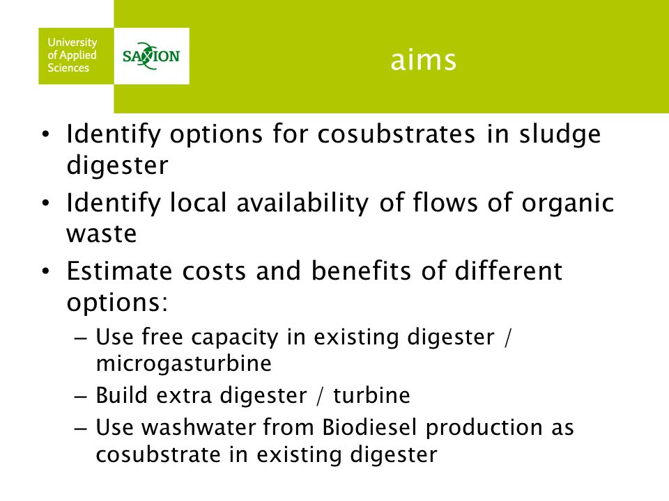 aims Identify options for cosubstrates in sludge digester